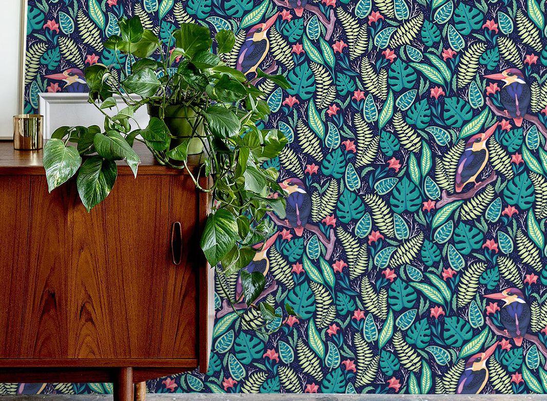 Exotic Kingfisher Wallpaper • Folklore & Flora