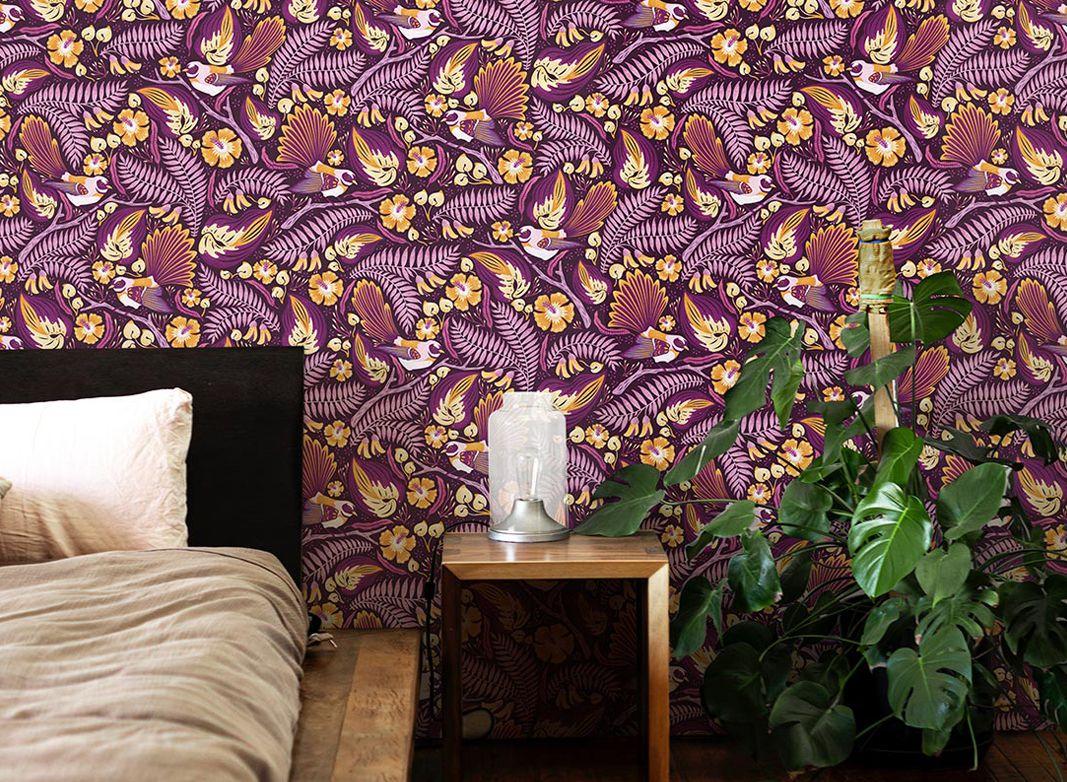 Fantails Wallpaper • Purple Wallpaper • Bedroom Wallpaper