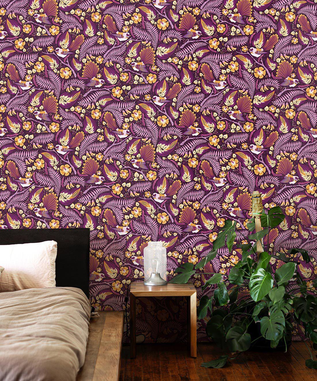 Faintails Wallpaper • New Zealand • Bird Wallpaper • Kowhai Tree • Kowhai Flowers • Purple Wallpaper •Insitu