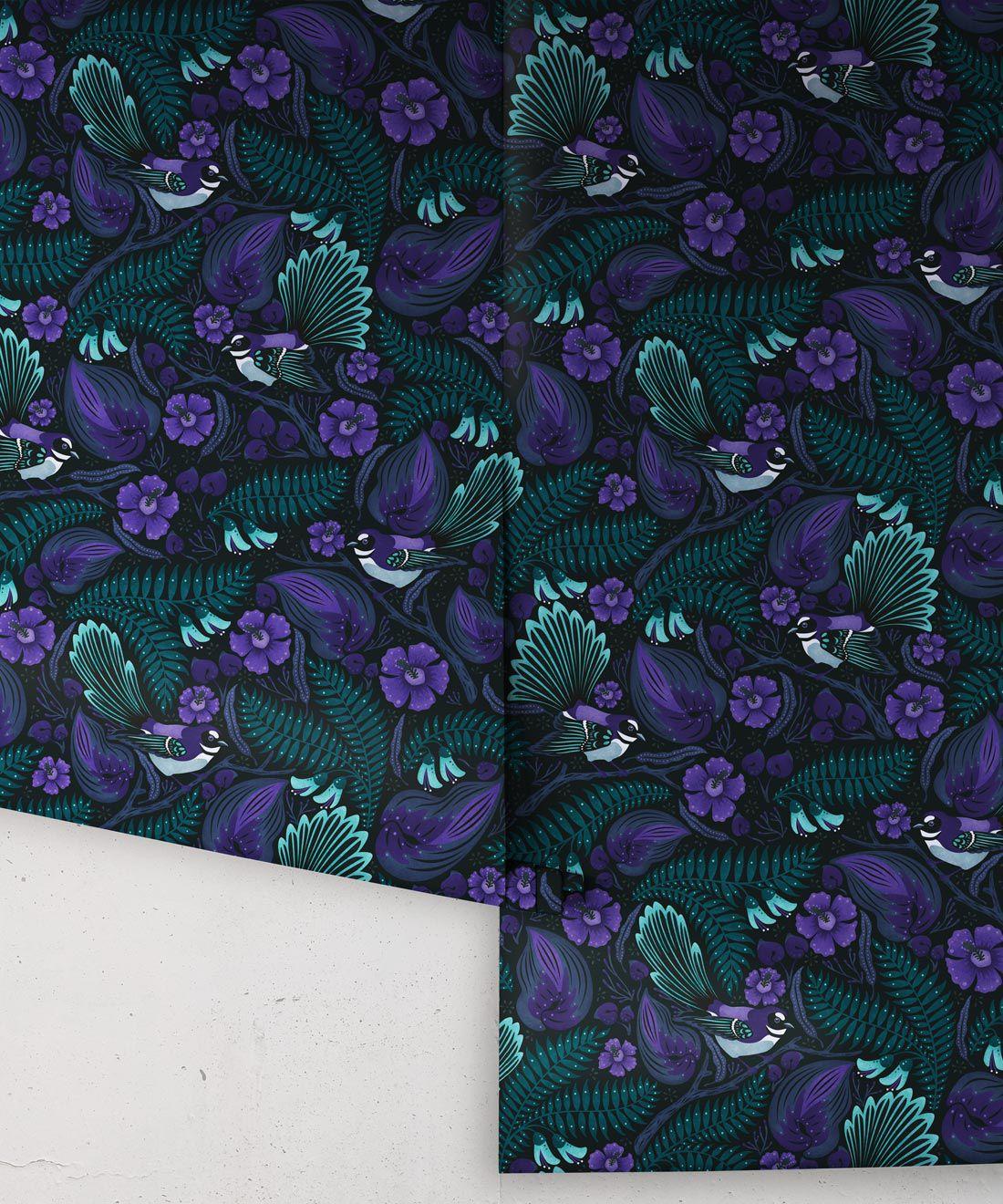 Faintails Wallpaper • New Zealand • Bird Wallpaper • Kowhai Tree • Kowhai Flowers • Dark Purple Blue Wallpaper • Midnight Colorway • Wallpaper Rolls
