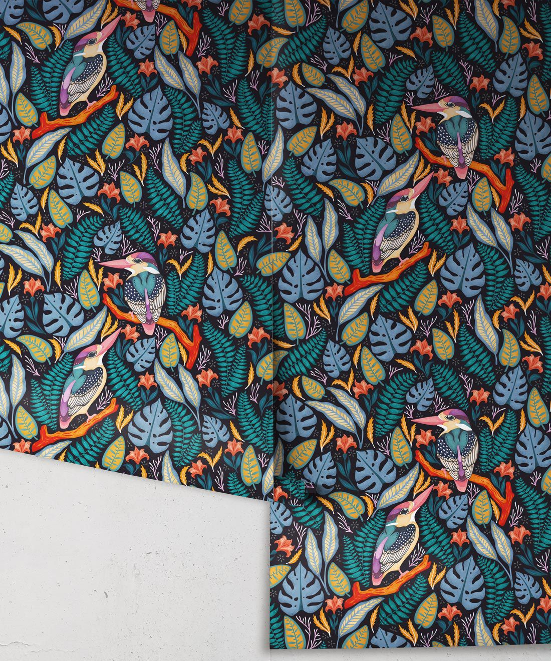 Kingfisher Wallpaper • Bird Wallpaper • Assorted Color Wallpaper Rolls