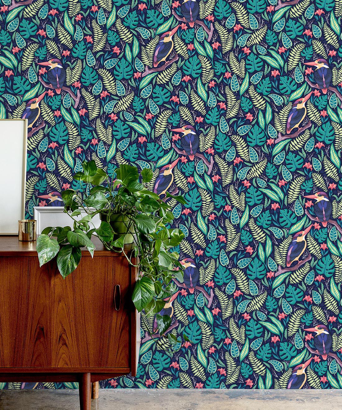 Kingfisher Wallpaper • Bird Wallpaper • Bright Neon Wallpaper Insitu