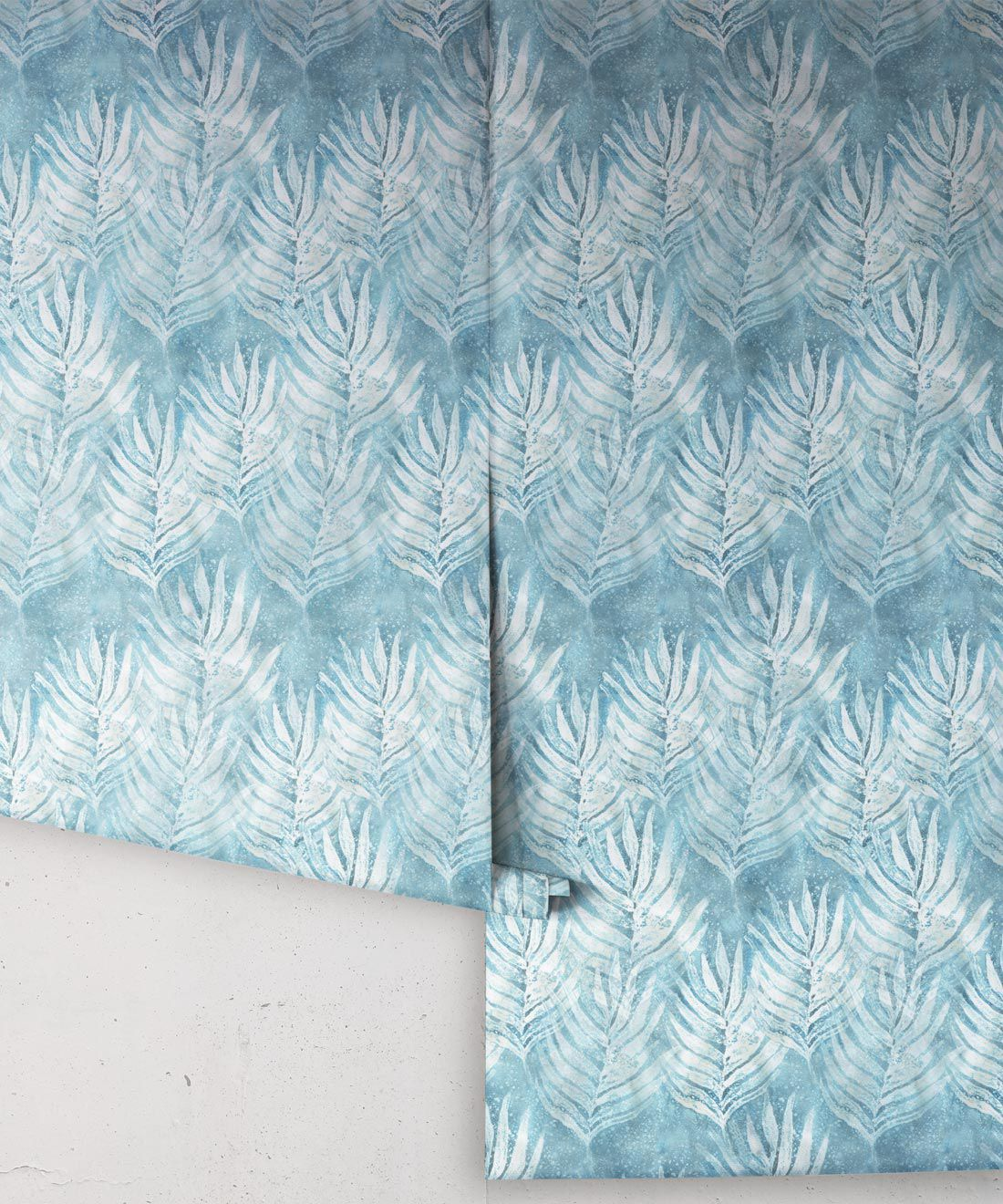 Aqua Shibori Leaf Wallpaper