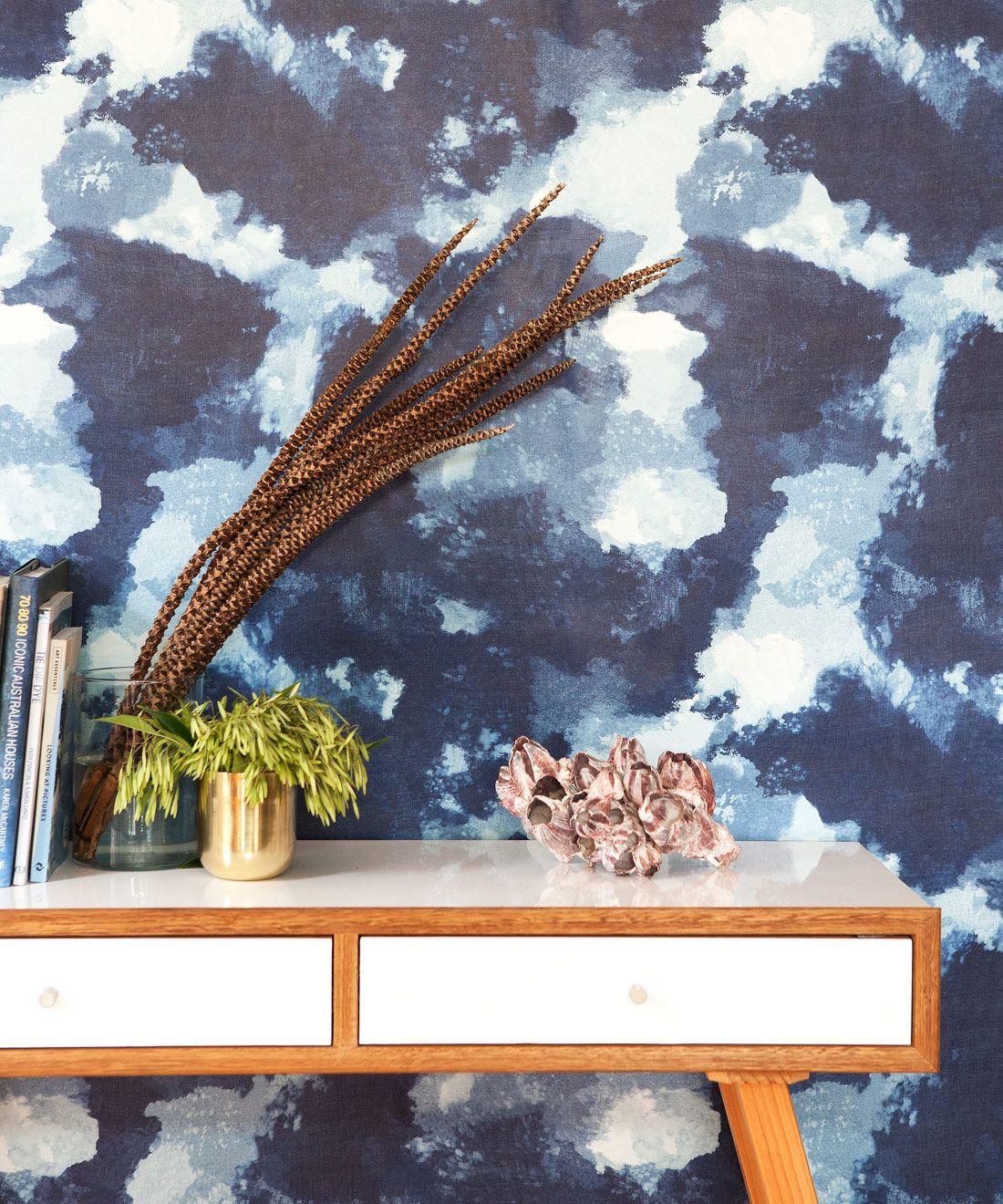 Autumn Path Wallpaper Indigo Blue • Shibori Abstract • Insitu