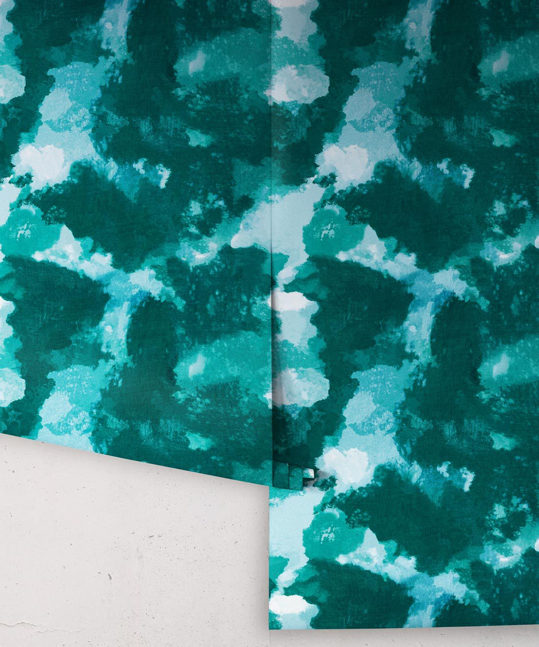 Autumn Path Wallpaper ocean teal • Shibori Abstract • Roll