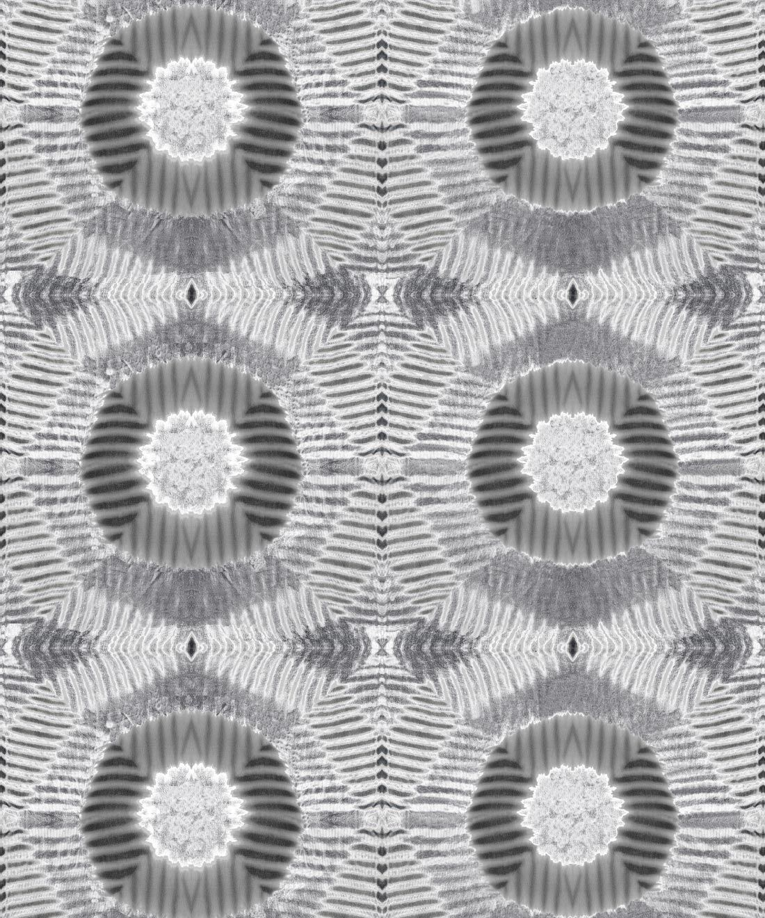 Aztec Suns Wallpaper Gray • Shibori Geometric • Swatch