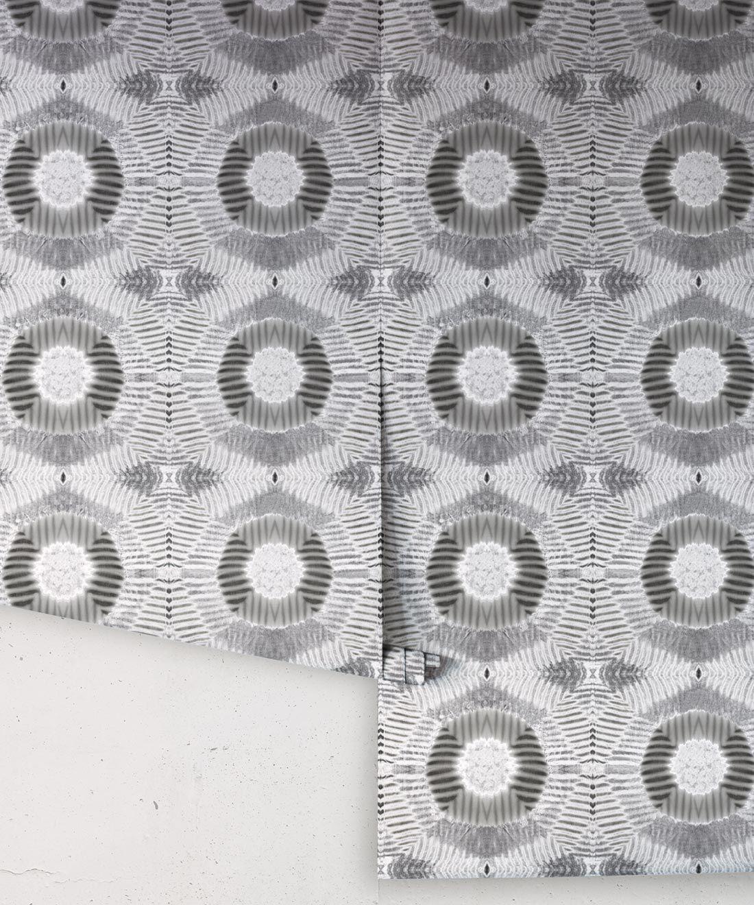 Aztec Suns Wallpaper Gray • Shibori Geometric • Rolls