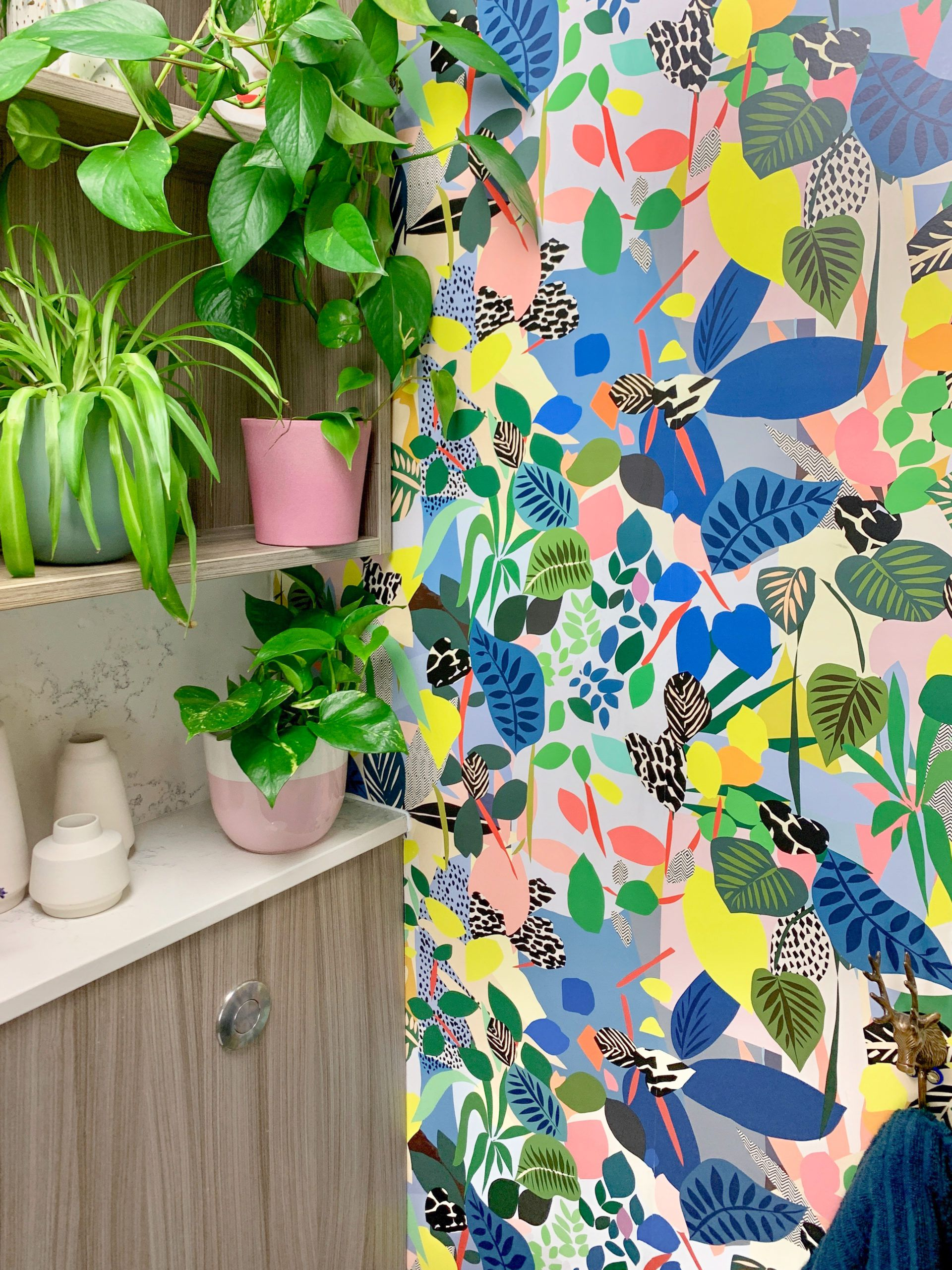 Hockney Wallpaper • Kitty McCall • Nikki Edwards • This E17 Life • Powder Room • Colorful Wallpaper