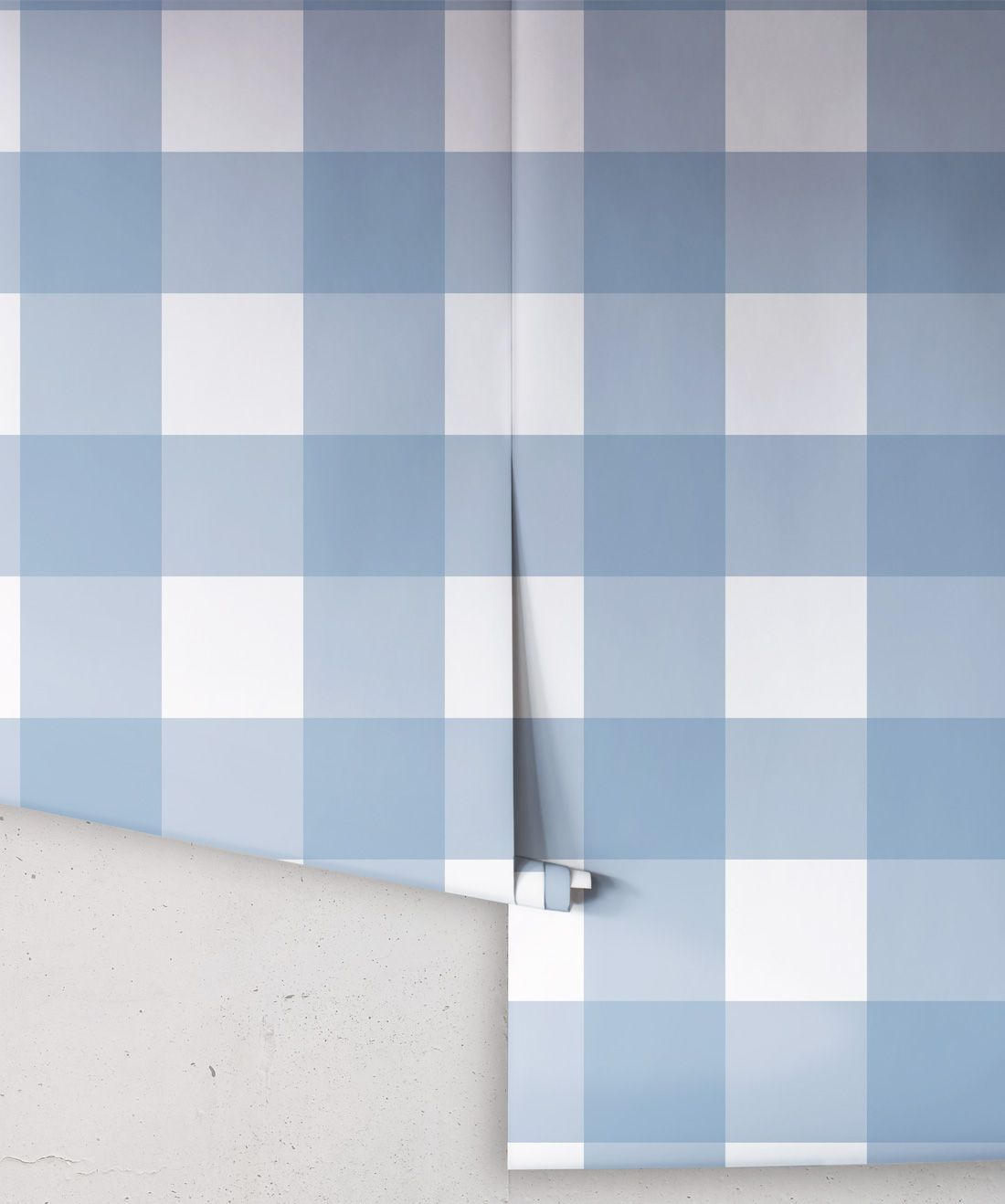 Mel's Buffalo Check Wallpaper • Pale Blue Plaid Wallpaper Rolls