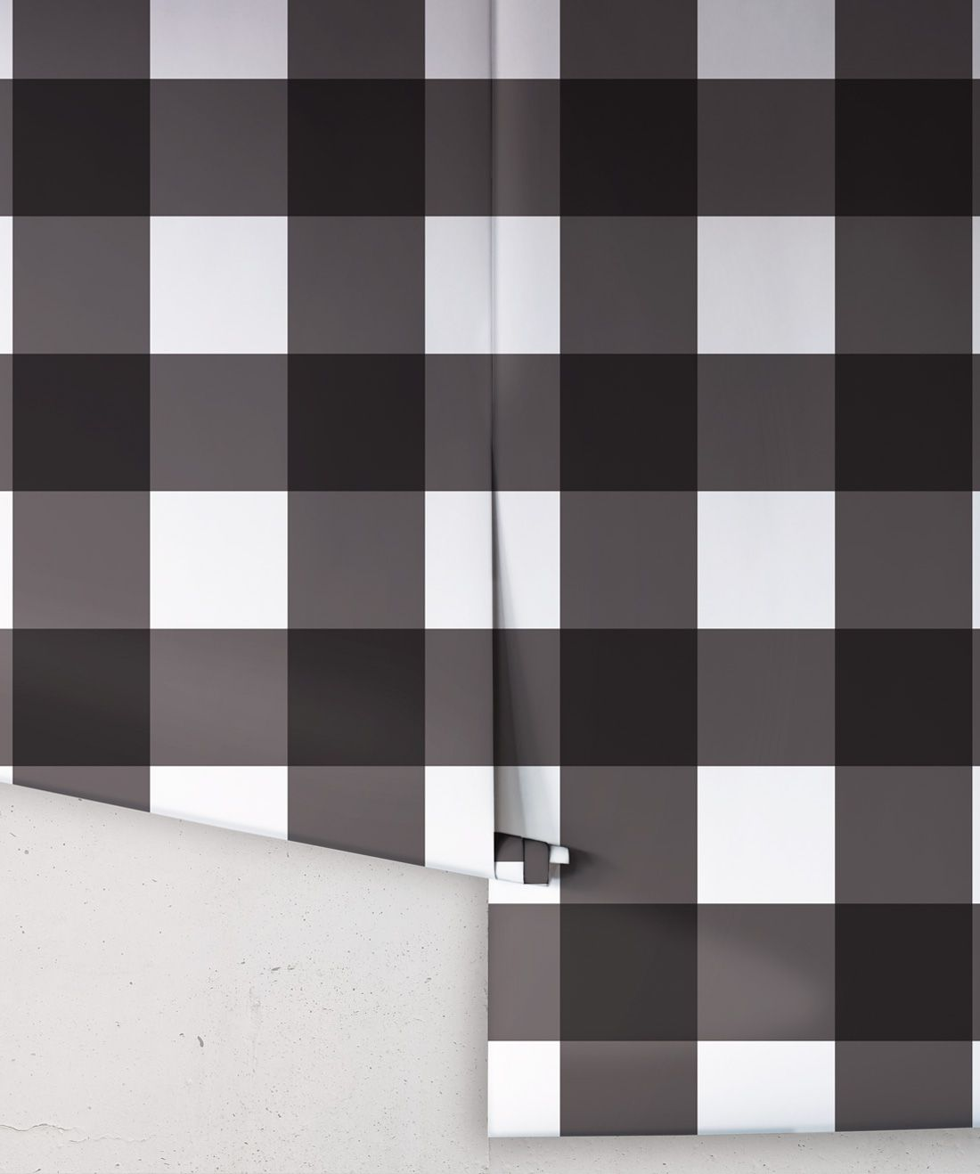 Mel's Buffalo Check Wallpaper • Black & White Plaid Wallpaper Rolls