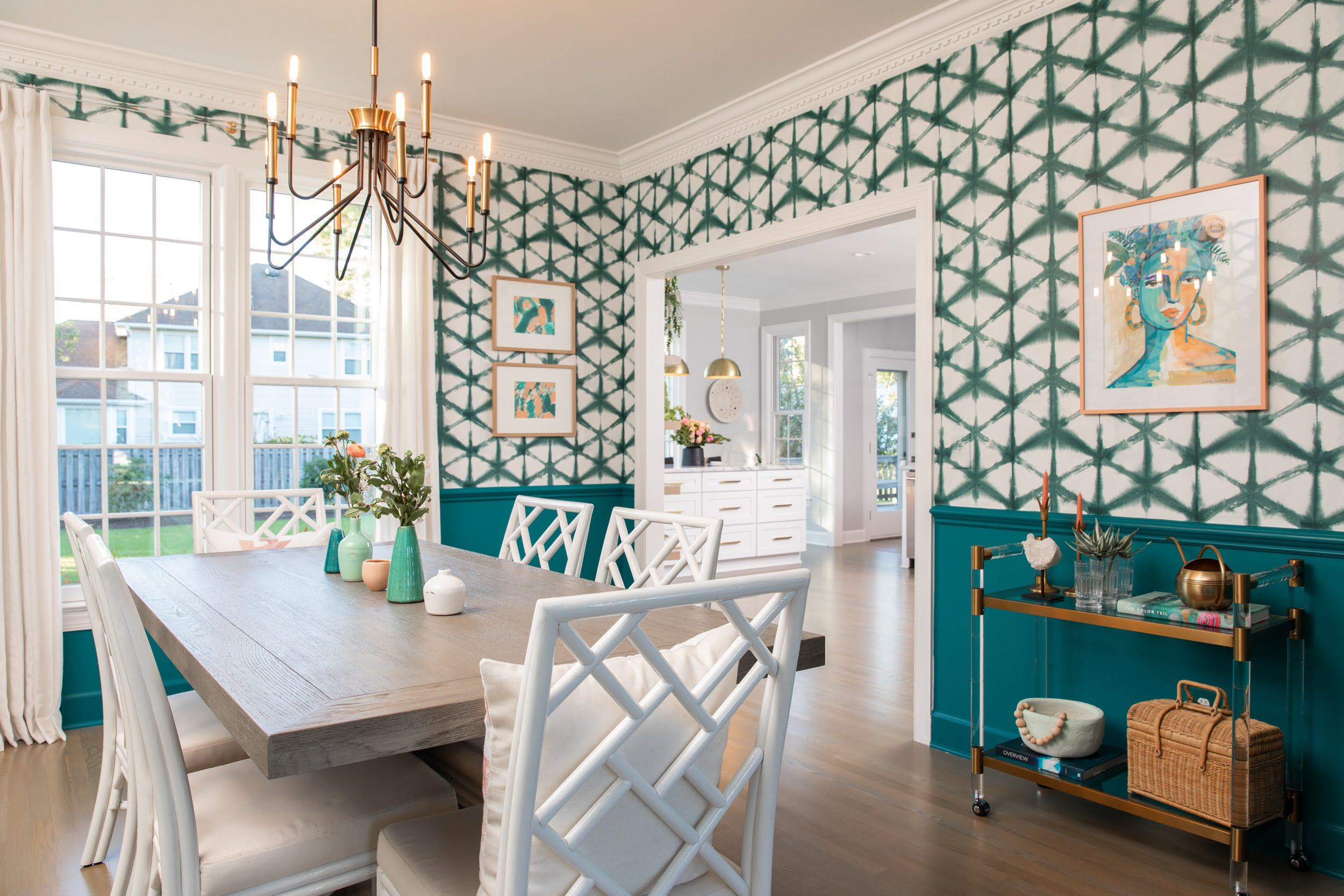 Shibori Star Wallpaper in an Eclectic Country Dining Room by Gabbi Zaccheria • Photo by Andrew Sherman