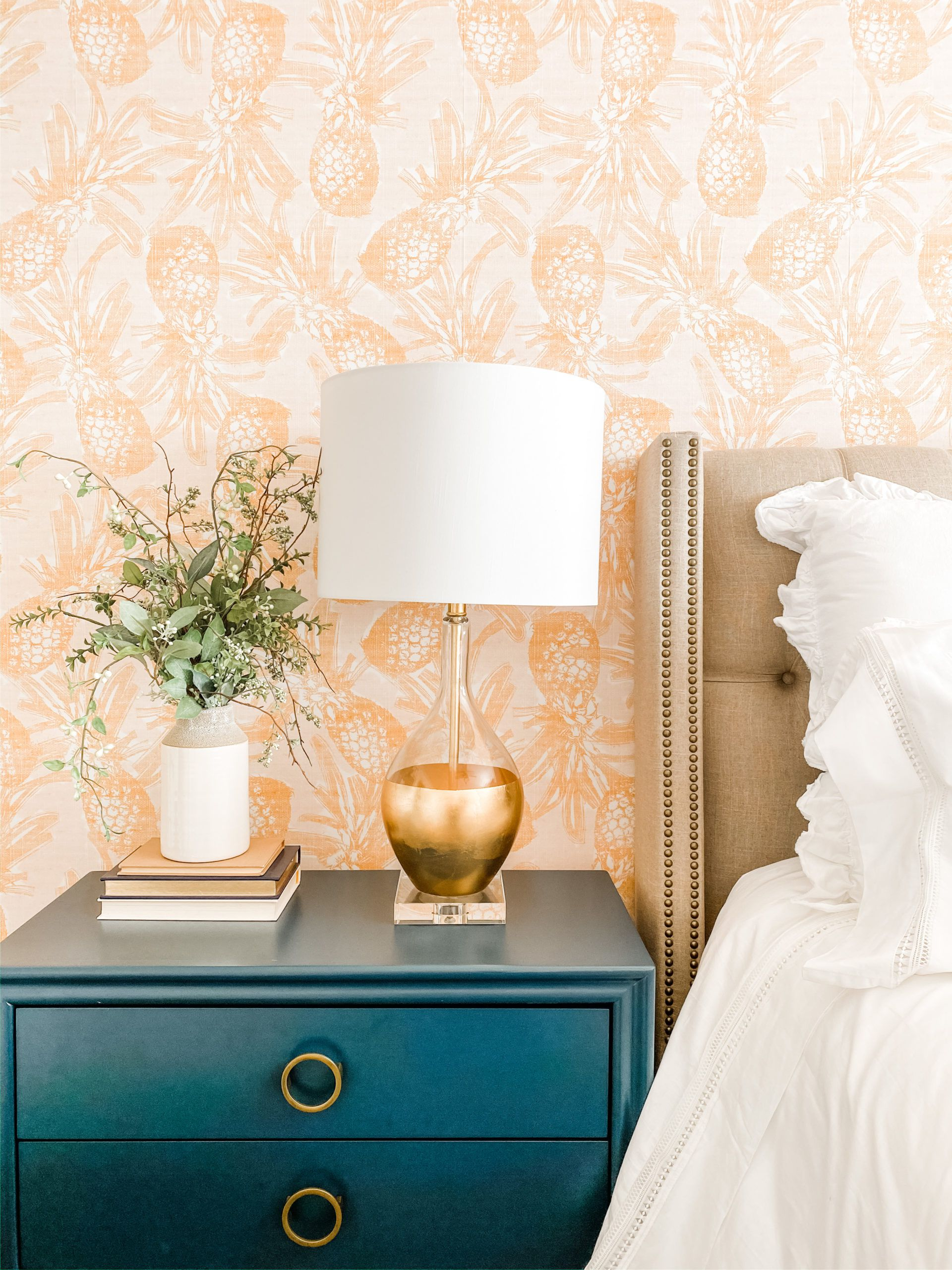 Calypso Wallpaper • Gold wallpaper • Pineapple Wallpaper • Tropical Wallpaper • Master Bedroom