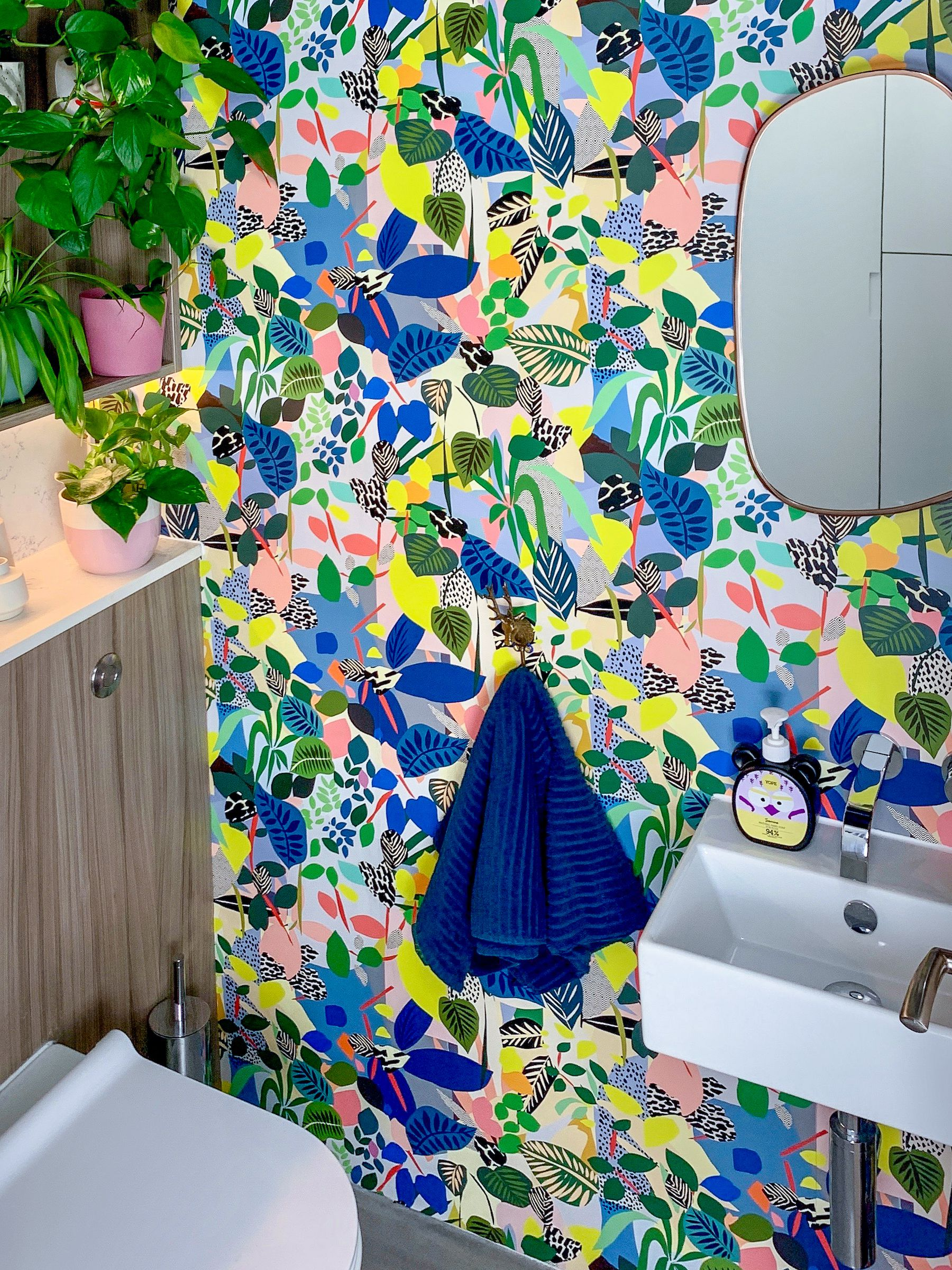 Hockney Wallpaper • Kitty McCall •Colorful Wallpaper • Tropical Wallpaper • Powder Room •Colorful Powder Room