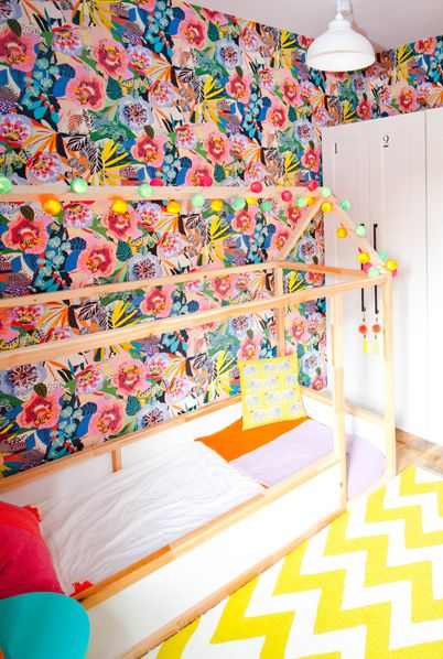 Lissi Walker • Girls Bedroom Makeover • Summer Garden Wallpaper • Kitty McCall