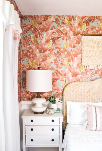 Tropical Wallpaper • Kingdom Palm Wallpaper • Tropical Bedroom • At Home With Ashley Wilson