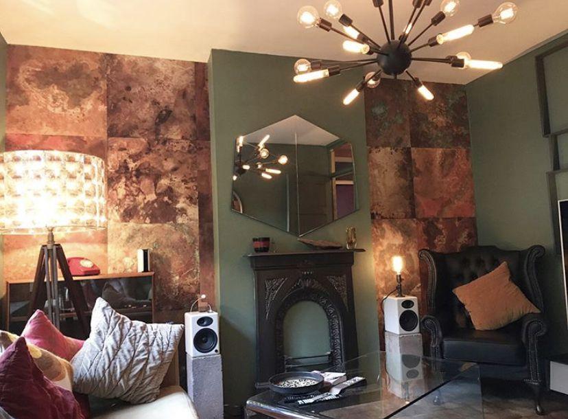 Bronze & Copper Wallpaper •Living Room Wallpaper • Masculine Decor • Industrial Wallpaper