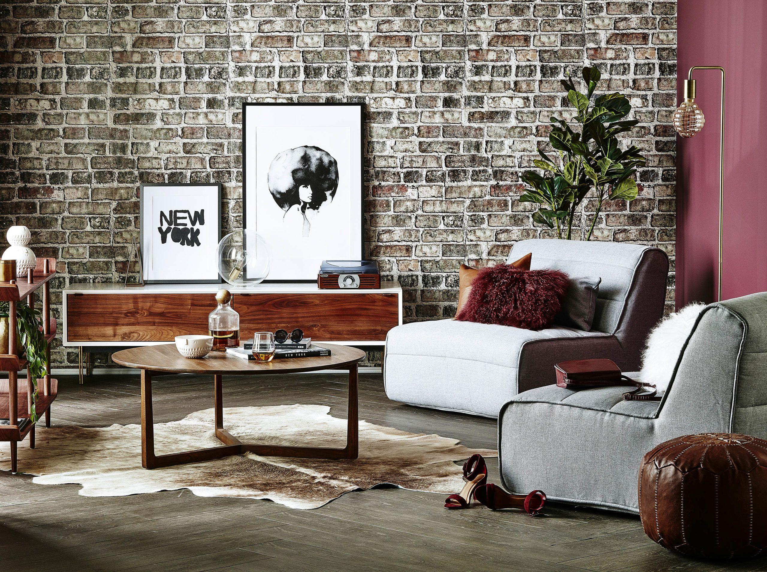 Vintage Brick Wallpaper • Urban Loft • Shabby Chic