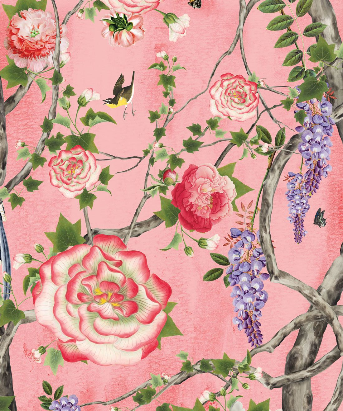 Empress Wallpaper • Romantic Wallpaper • Floral Wallpaper • Chinoiserie Wallpaper • Coral color wallpaper swatch