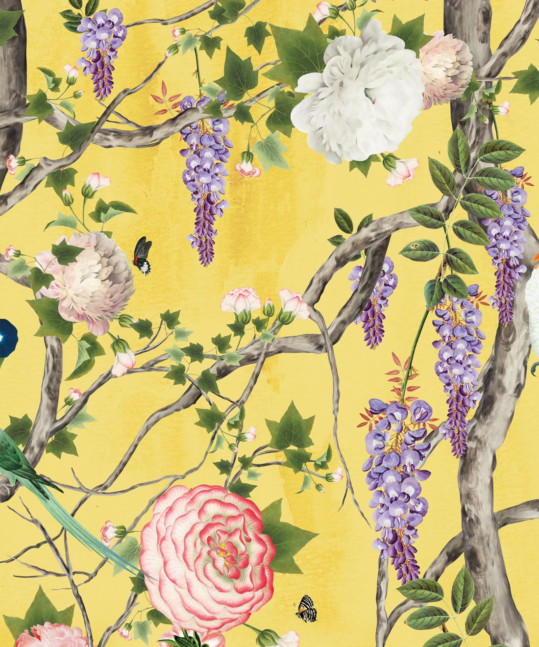 Empress Wallpaper • Romantic Wallpaper • Floral Wallpaper • Chinoiserie Wallpaper • Yellow color wallpaper swatch • Honey