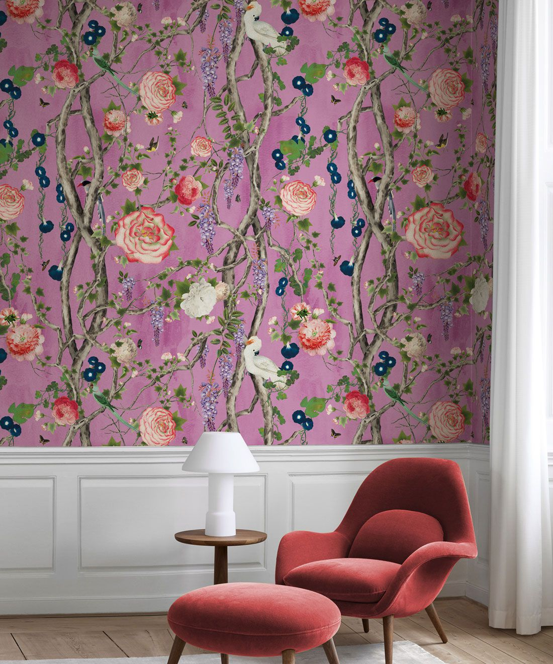 Empress Wallpaper • Romantic Wallpaper • Floral Wallpaper • Chinoiserie Wallpaper • Plum color wallpaper insitu