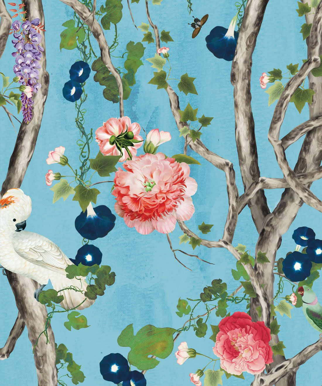 Empress Wallpaper • Romantic Wallpaper • Floral Wallpaper • Chinoiserie Wallpaper • Light Blue color wallpaper swatch • Sky