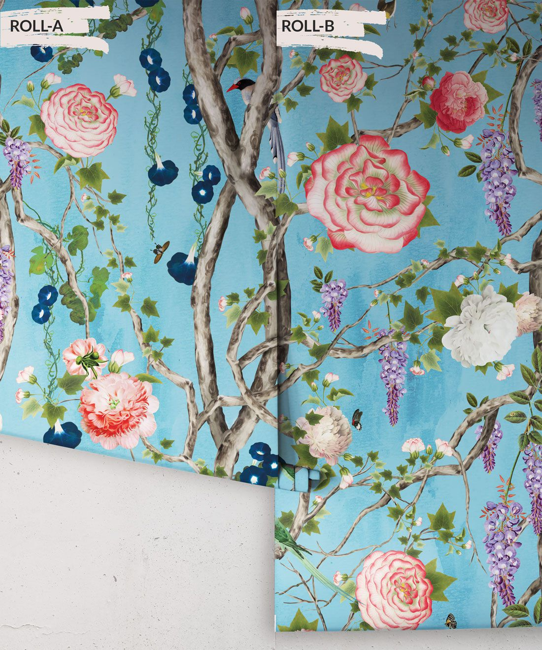 Empress Wallpaper • Romantic Wallpaper • Floral Wallpaper • Chinoiserie Wallpaper • Light Blue color wallpaper rolls• Sky