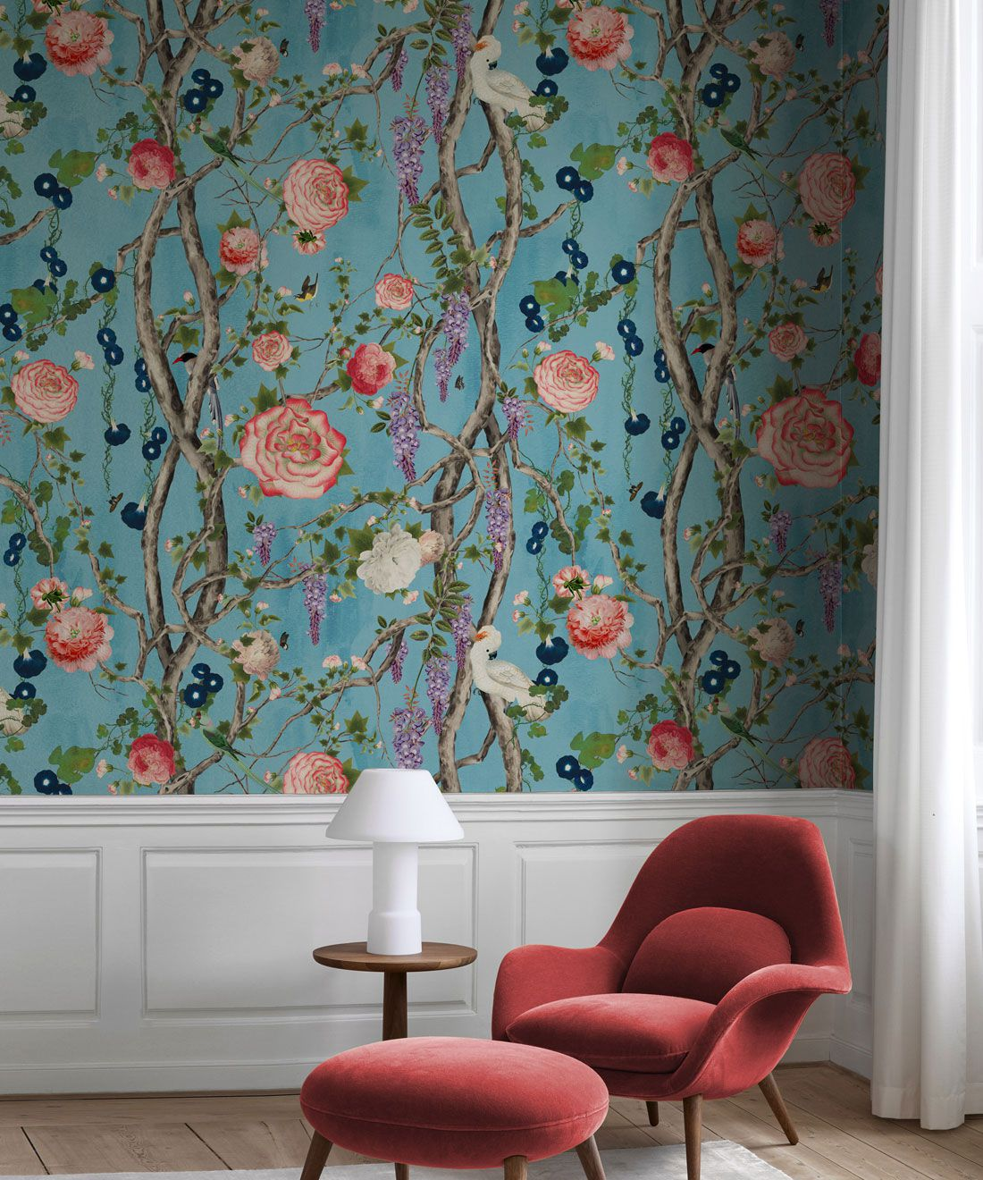 Empress Wallpaper • Romantic Wallpaper • Floral Wallpaper • Chinoiserie Wallpaper • Light Blue color wallpaper insitu • Sky