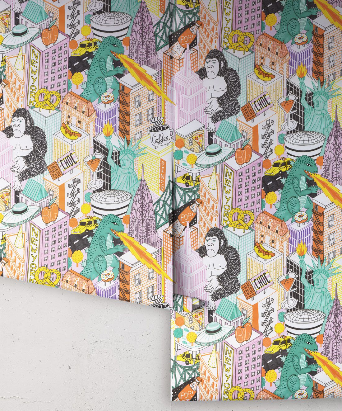 New York Wallpaper by Jacqueline Colley featuring Godzilla, King Kong, a UFO, buildings and the statue of liberty rolls