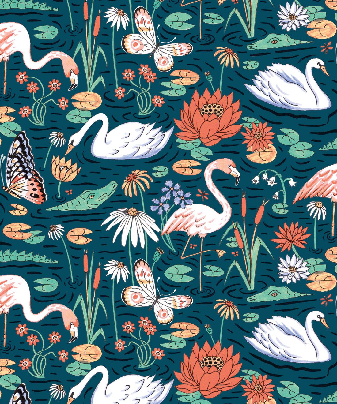 Pond Pattern Wallpaper featuring alligators, swans, flamingos and lily pads swatch
