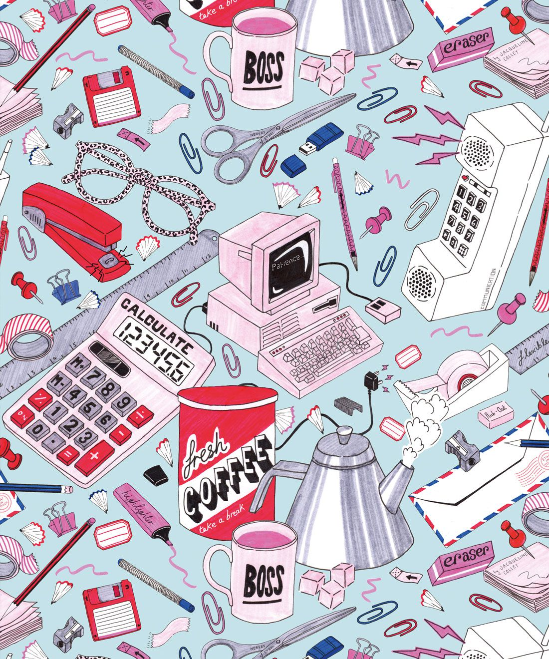 1980's Office Wallpaper featuring calculators, staplers, computers, phones on a messy desk • retro wallpaper