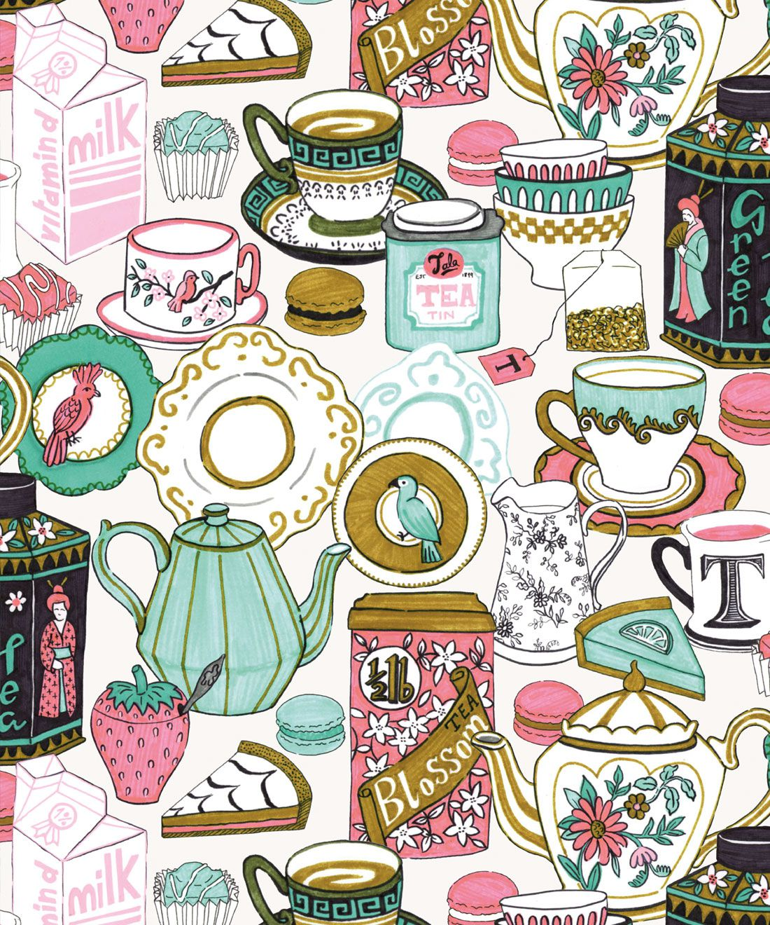 Tea Time Wallpaper • tea cups, tea pots, macaroons • milk and cream swatch