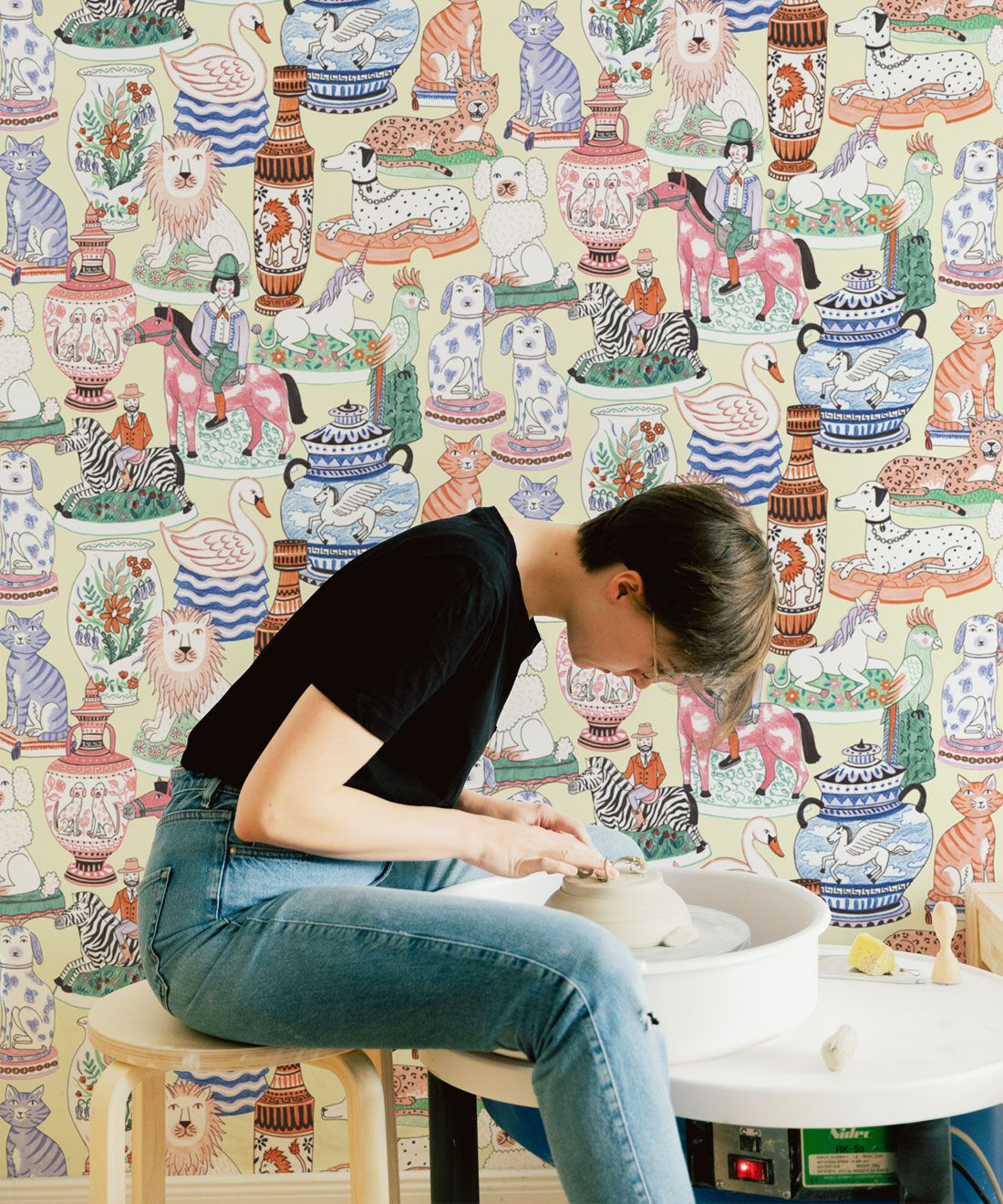 Ceramics Wallpaper featuring vases of dogs, cats, zebras, lions, parrots and unicorns insitu
