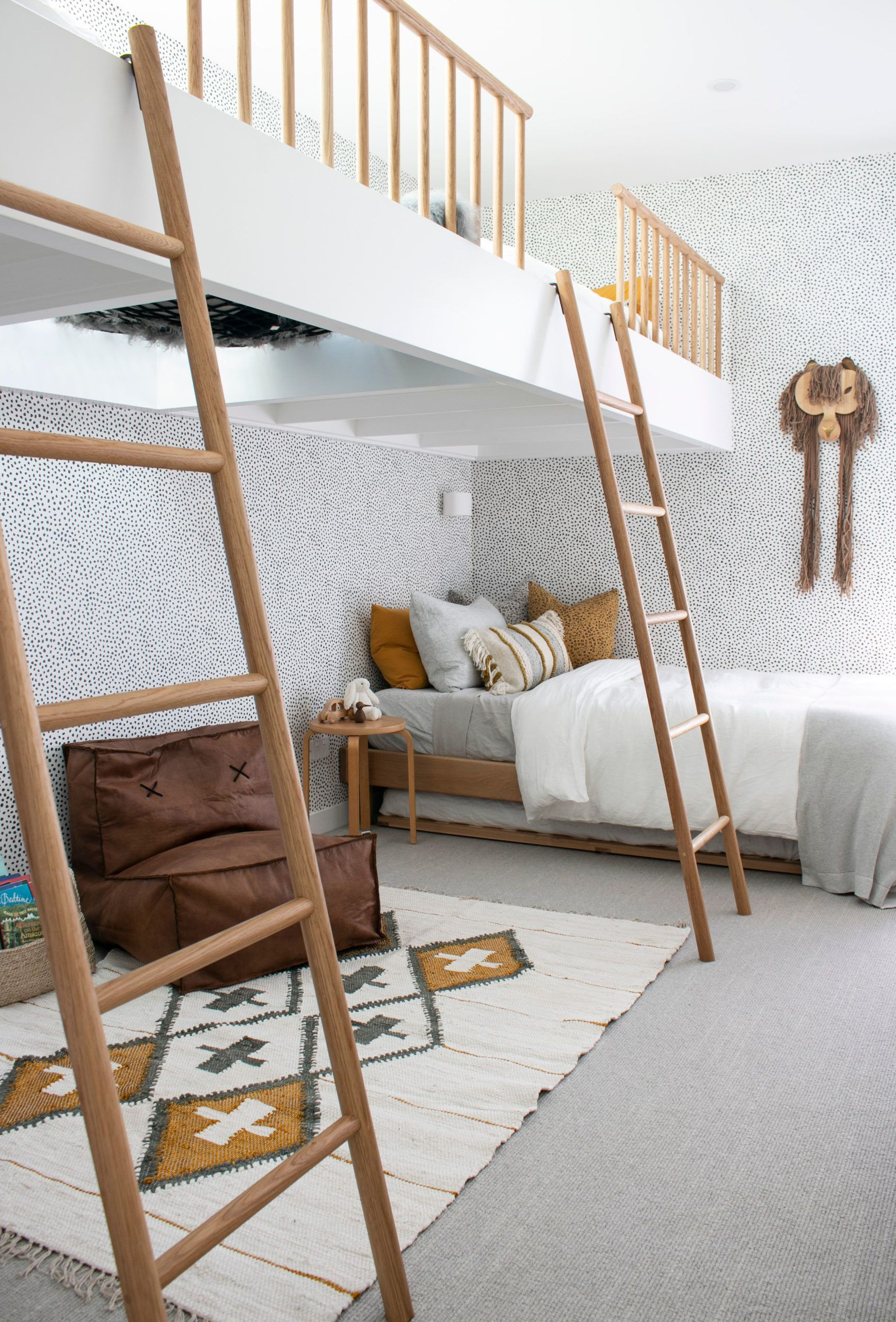 The Designory • Barefoot Bay Villa in Byron Bay • Bunk Room • Huddy's Dots Spotted Wallpaper