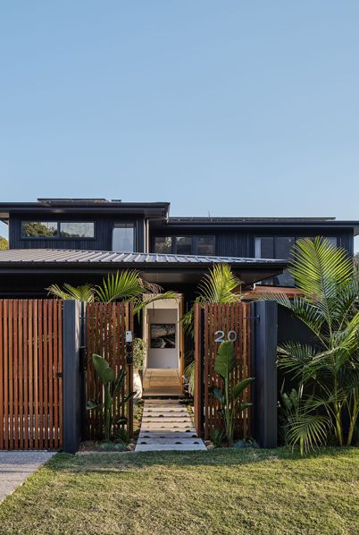 The Designory • The Barefoot Bay Villa • Byron Bay AirBnB • 5 Bedroom Luxury Home with Timber access gate
