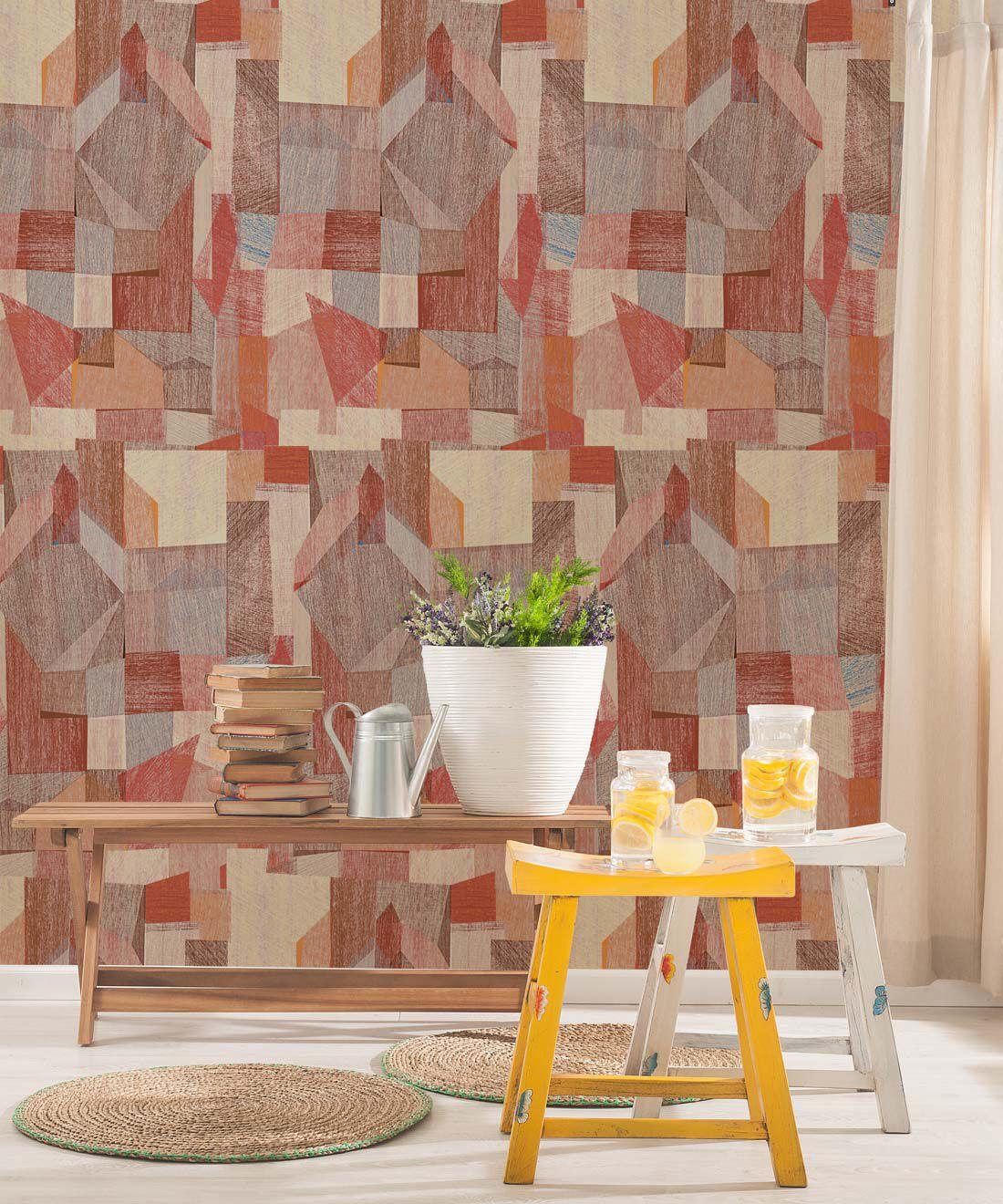 Chimera Wallpaper by Simcox • Color Rust • Abstract Wallpaper • Geometric Wallpaper • insitu