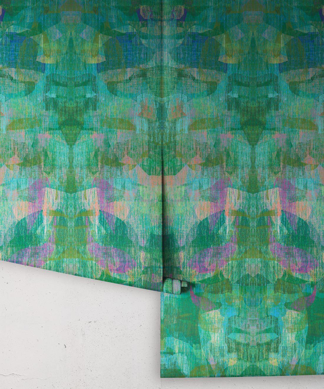 Camoufleur Wallpaper • Jungle • Green Purple Wallpaper • Abstract Wallpaper rolls