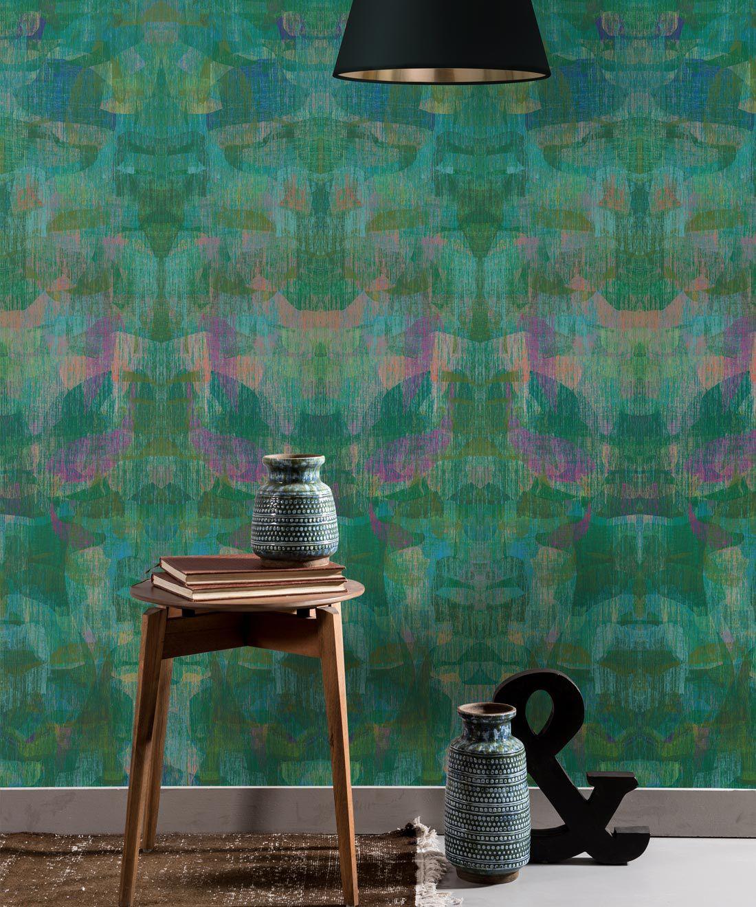Camoufleur Wallpaper • Jungle • Green Purple Wallpaper • Abstract Wallpaper insitu