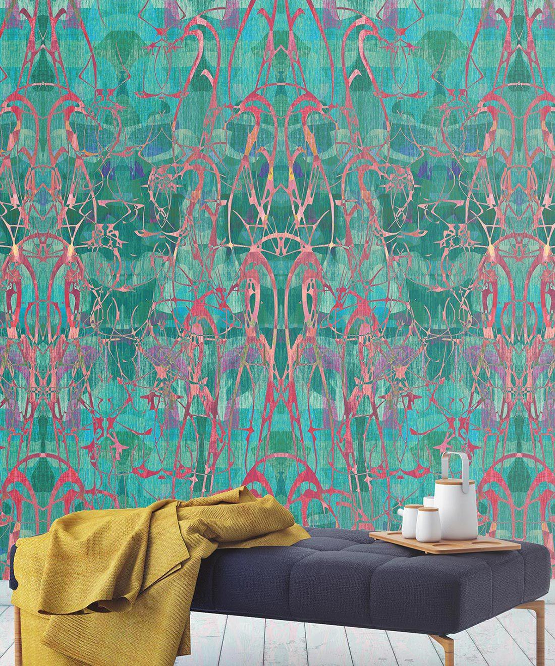 Camoufleur Wallpaper • Rainforest • Teal Wallpaper • Abstract Wallpaper insitu