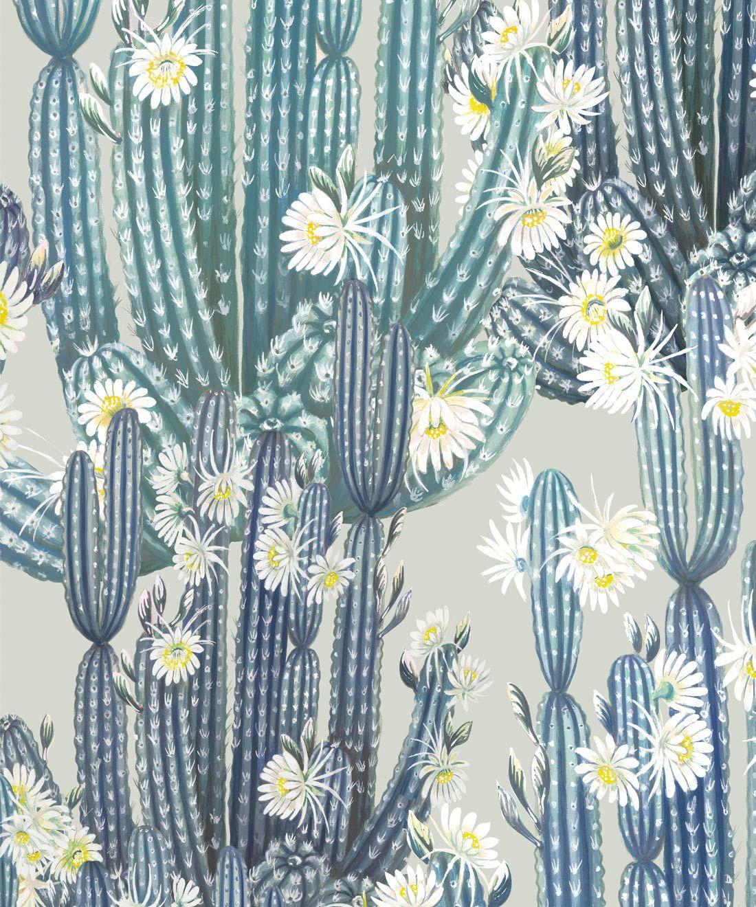 San Pedro Wallpaper Blue • Cactus Wallpaper • Succulents Wallpaper • Desert Wallpaper Swatch