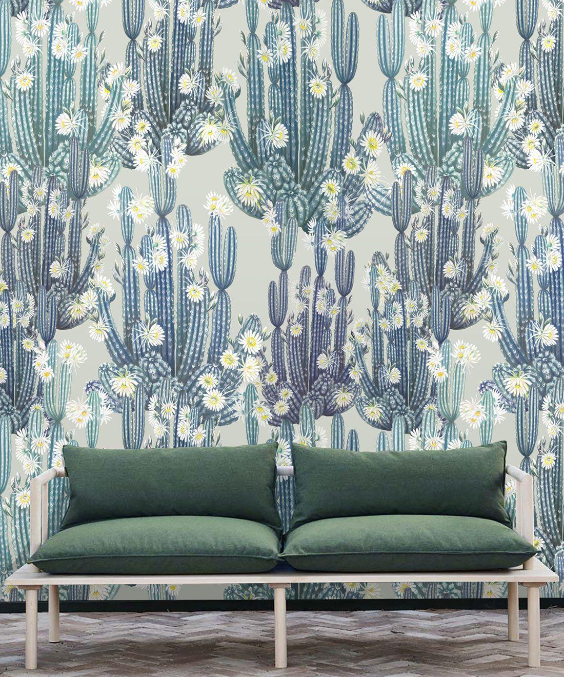 San Pedro Wallpaper Blue • Cactus Wallpaper • Succulents Wallpaper • Desert Wallpaper Insitu behind couch with green cushions
