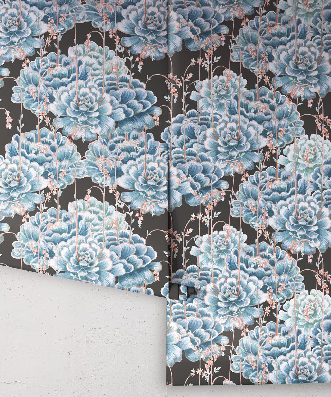 Succulents Wallpaper Blue Charcoal • Cactus Wallpaper • Desert Wallpaper Rolls on black background