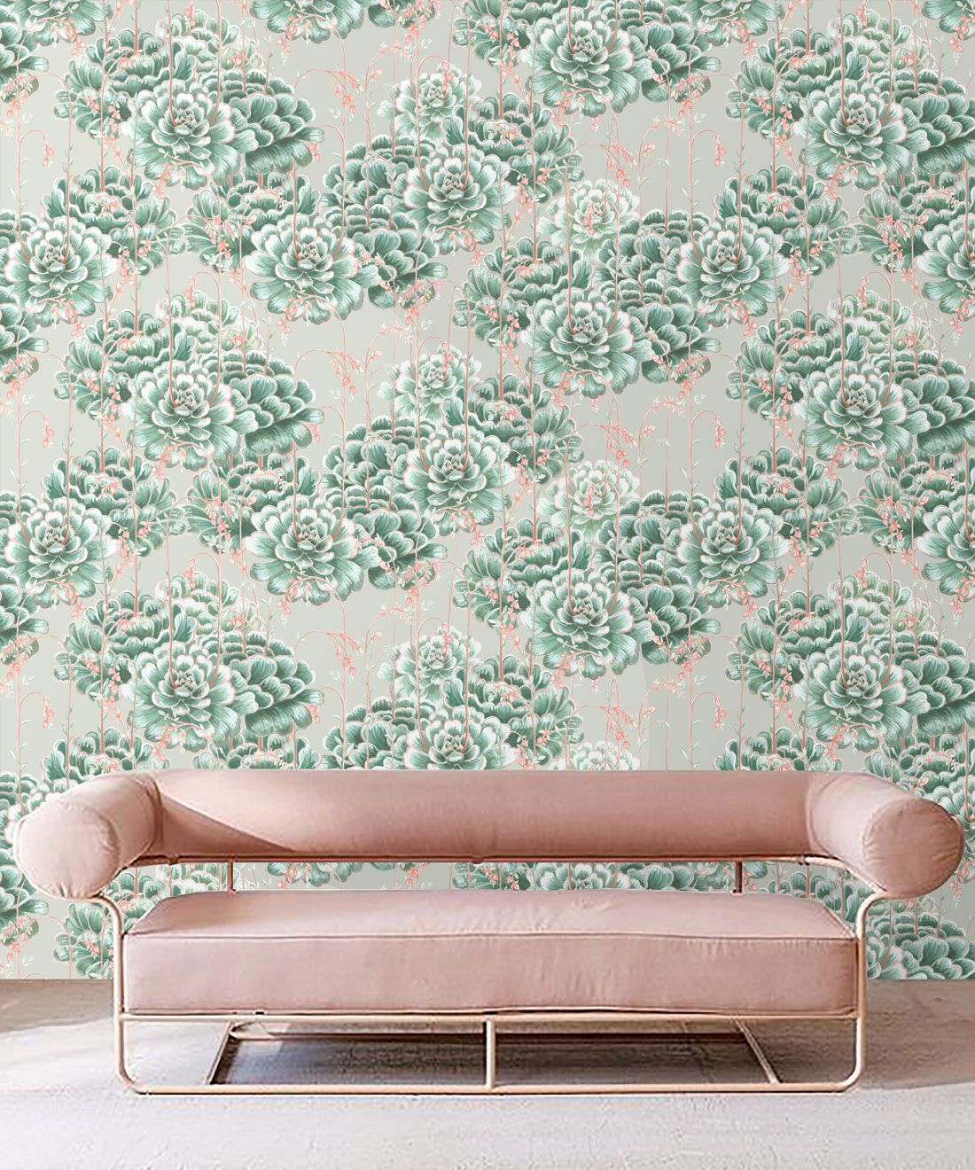 Succulents Wallpaper Green Beige • Cactus Wallpaper • Desert Wallpaper insitu on grey background behind sofa with pink cushions