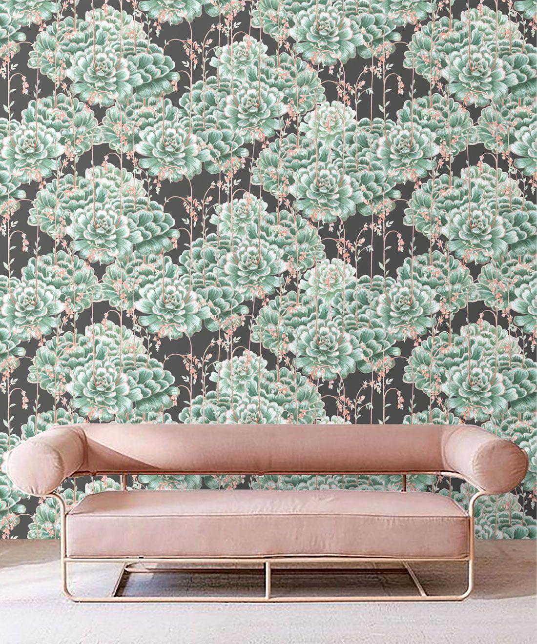 Succulents Wallpaper Green Charcoal • Cactus Wallpaper • Desert Wallpaper Insitu on black background behind pink sofa
