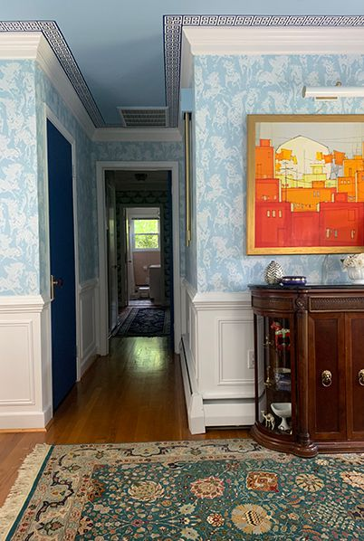 One Room Challenge Entryway Refresh by Mehr Niazi using the Stampede wallpaper by Milton & King