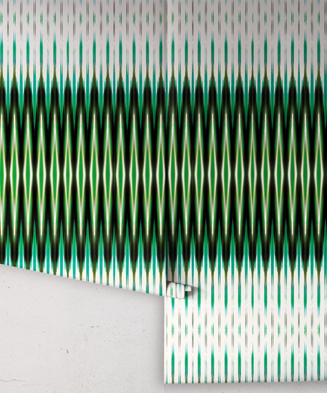 Ikat Wallpaper • Green Wallpaper •Kitty McCall • Rolls
