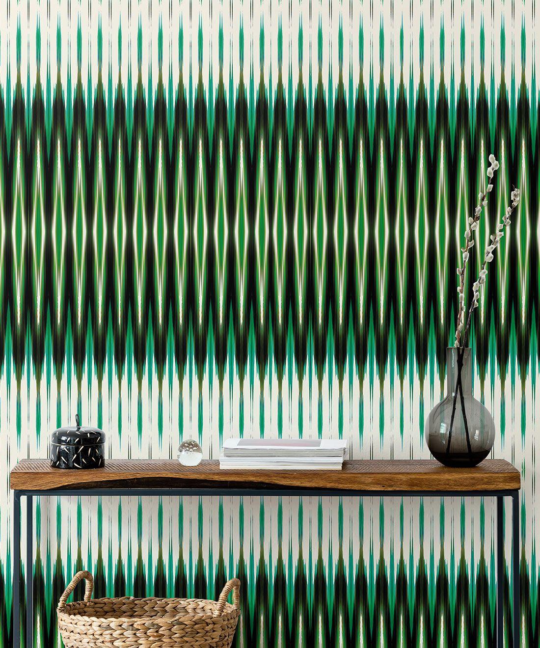 Ikat Wallpaper • Green Wallpaper •Kitty McCall • Insitu
