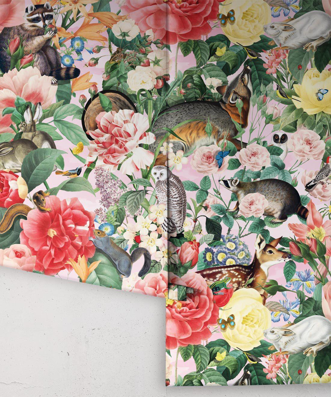 Bush Bouquet Spring Wallpaper • Coral Colored Wallpaper • Assorted Color and Multi-color wallpaper • Floral Wallpaper • Wallpaper With Forest Animals • Rolls
