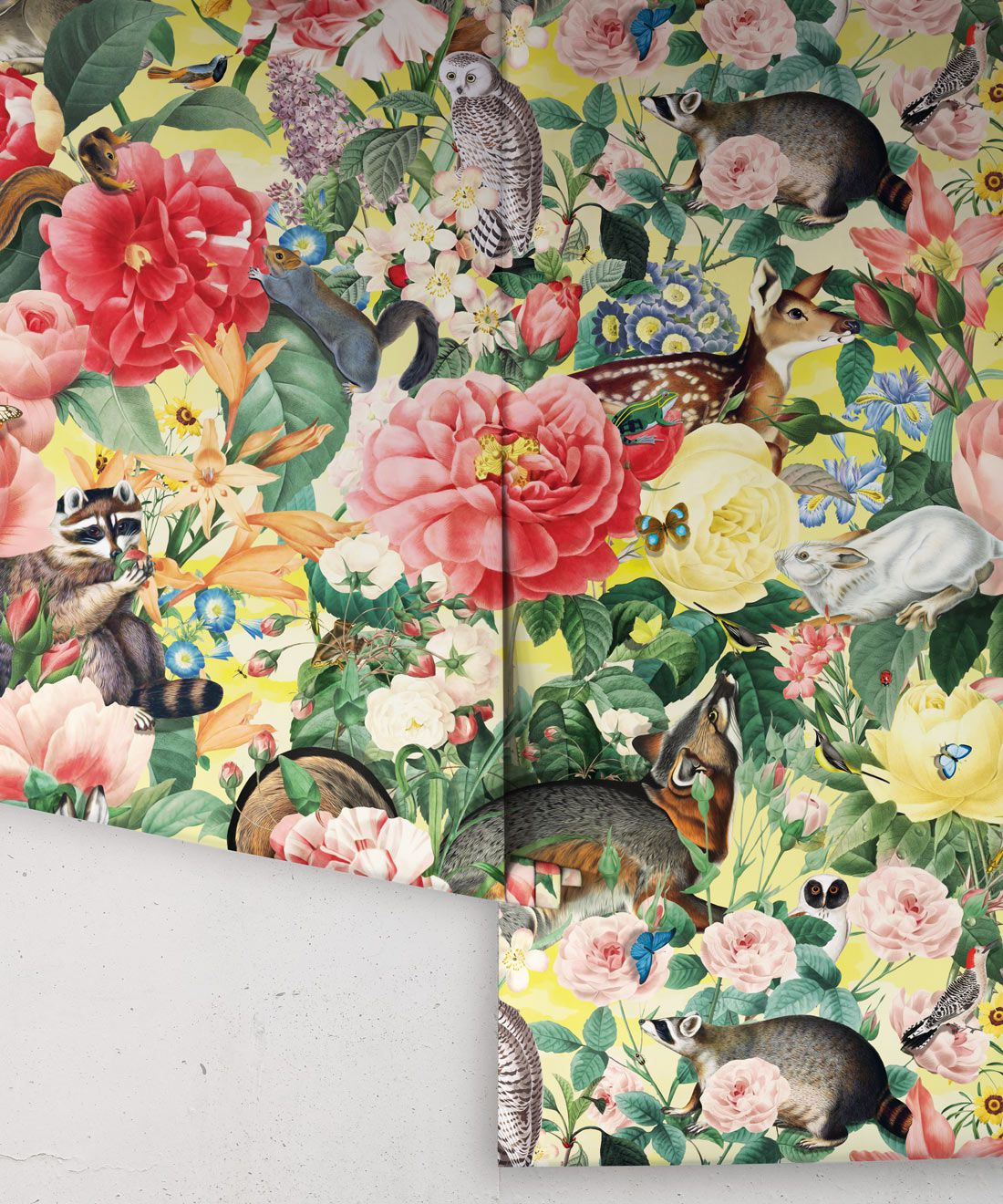 Bush Bouquet Spring Wallpaper • Lemon Colored Wallpaper • Assorted Color and Multi-color wallpaper • Floral Wallpaper • Wallpaper With Forest Animals • Rolls