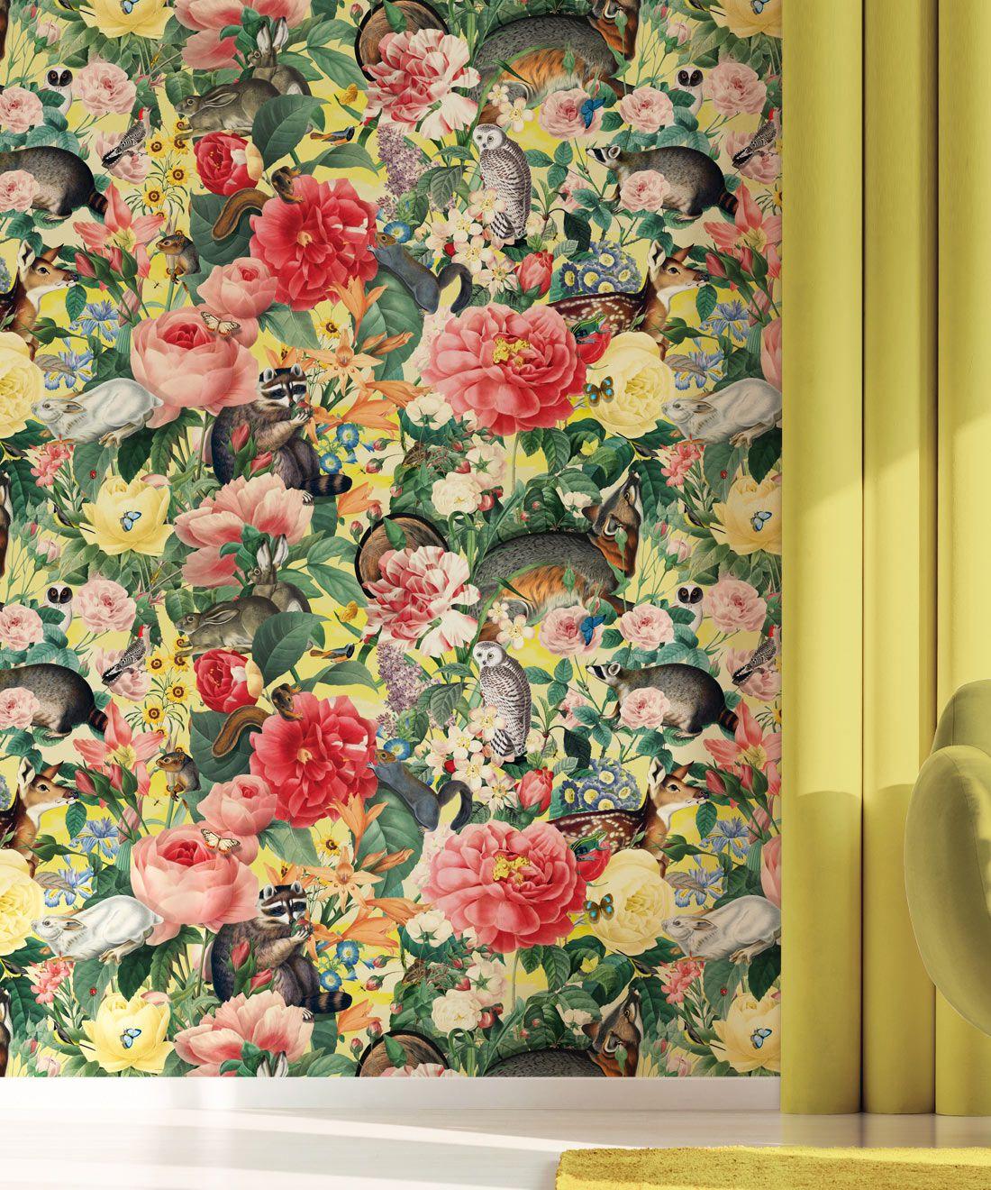 Bush Bouquet Spring Wallpaper • Lemon Colored Wallpaper • Assorted Color and Multi-color wallpaper • Floral Wallpaper • Wallpaper With Forest Animals • Insitu