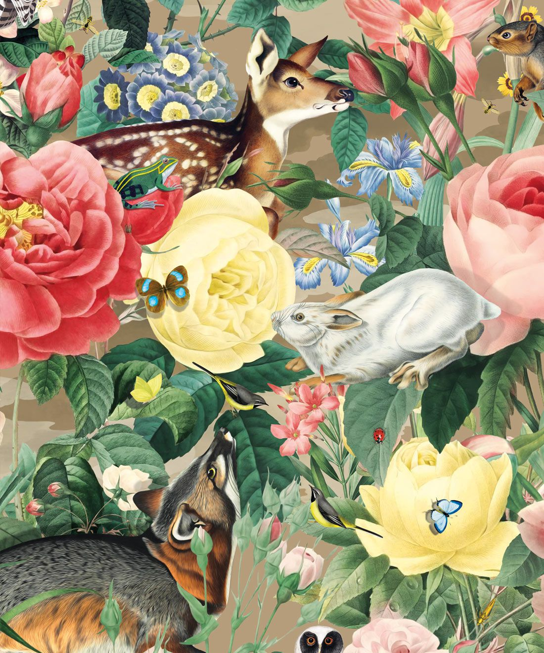 Bush Bouquet Spring Wallpaper • Brown Oak Colored Wallpaper • Assorted Color and Multi-color wallpaper • Floral Wallpaper • Wallpaper With Forest Animals • Swatch